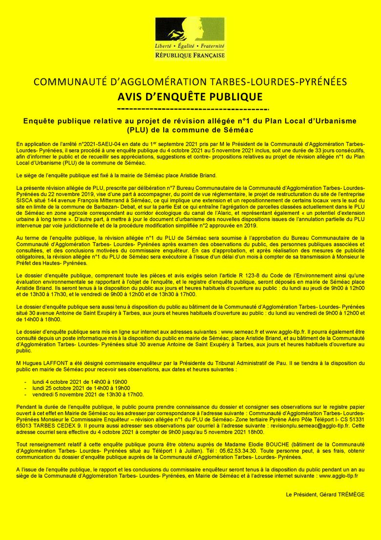 ENQUÊTE PUBLIQUE - Projet de révision allégée n°1 du PLU de Séméac