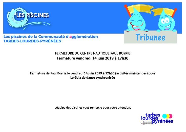 Centre Nautique Paul Boyrio : Fermeture 14 juin à 17h30 - Gala Danse Synchronisée