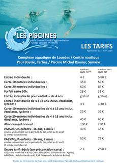 Tarifs Piscines Agglo TLP