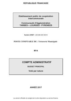 Comptes Administratifs Budget Principal 2017